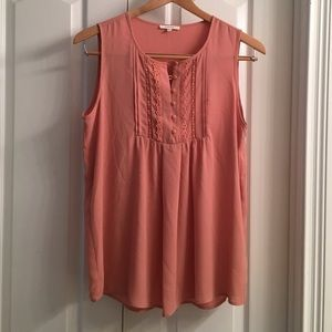 Pleione Peach Flowy Top with small buttons